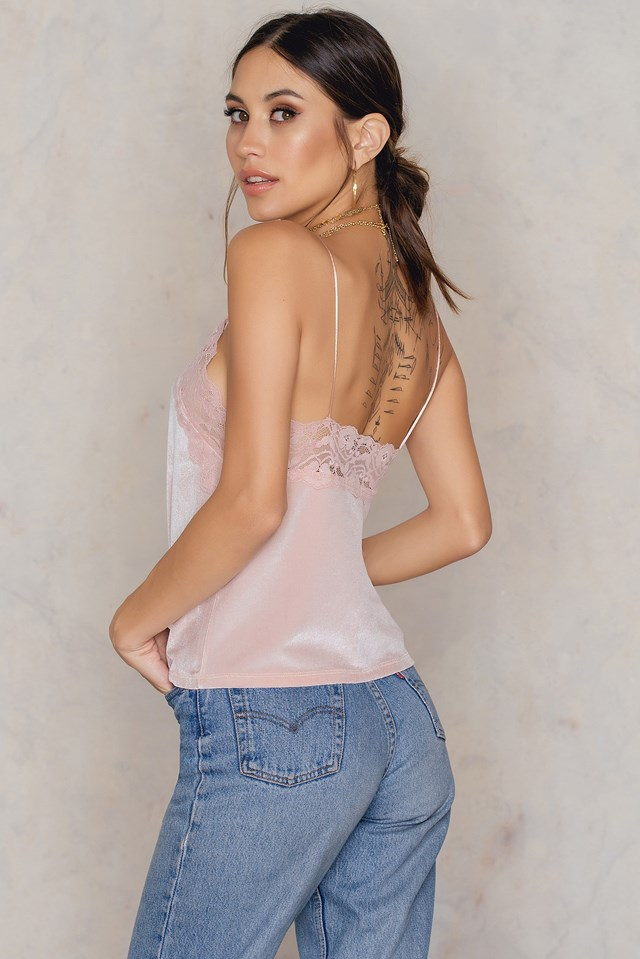 Lace Detail Velvet Singlet Light Pink