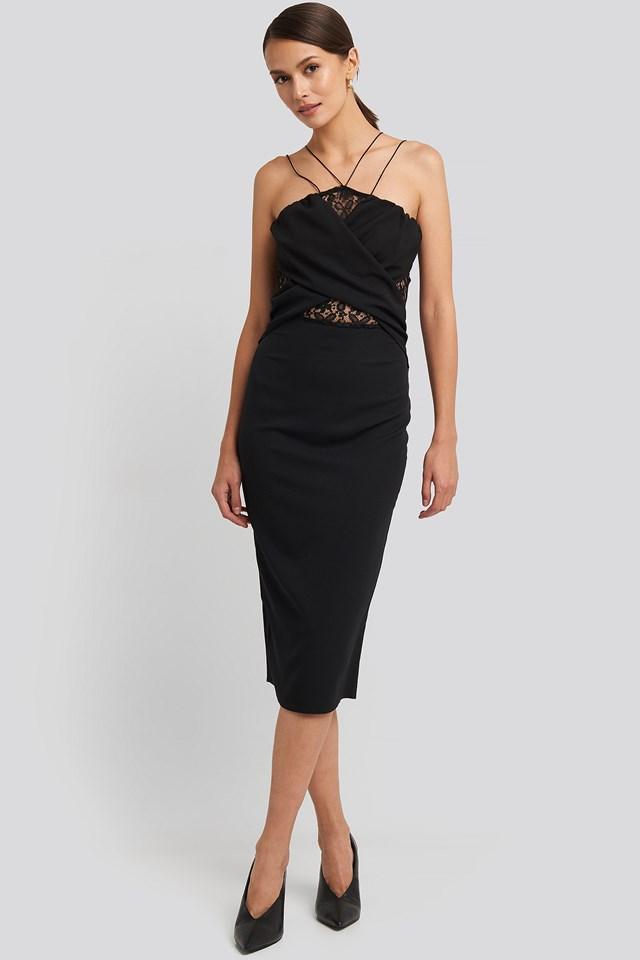 Lace Detailed Midi Dress Black