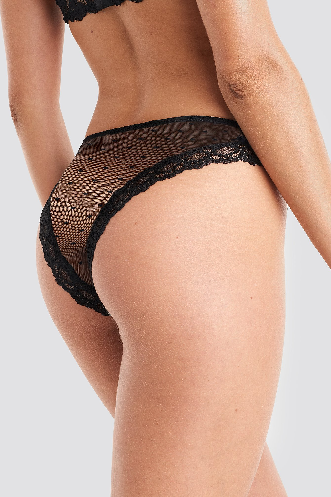 Black Lace Edge Dotted Brief