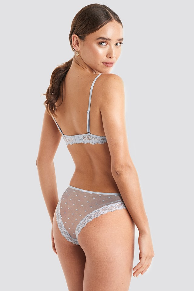 Lace Edge Dotted Brief Light Blue