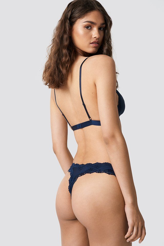 Lace Edge Micro Bra Dark Blue