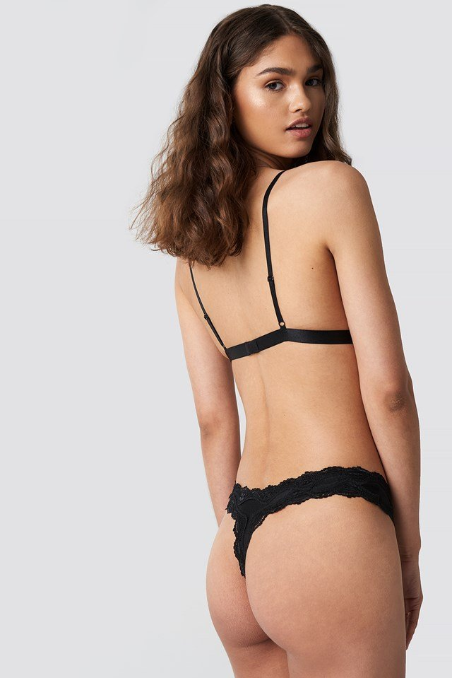 Lace Edge Micro Thong Black