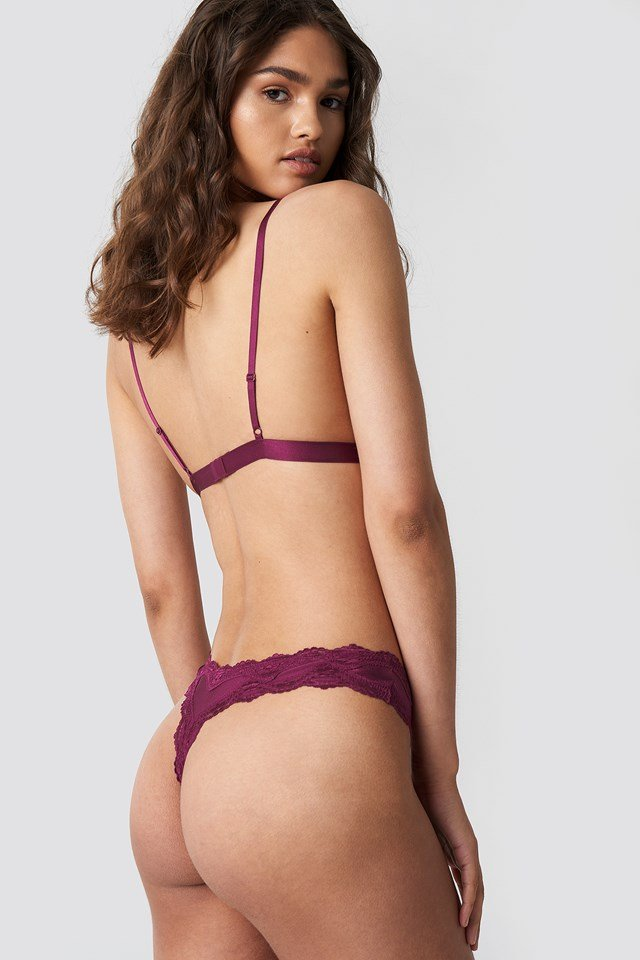 Lace Edge Micro Thong Burgundy