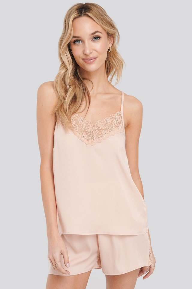 Lace Edge Night Satin Singlet Dusty Pink