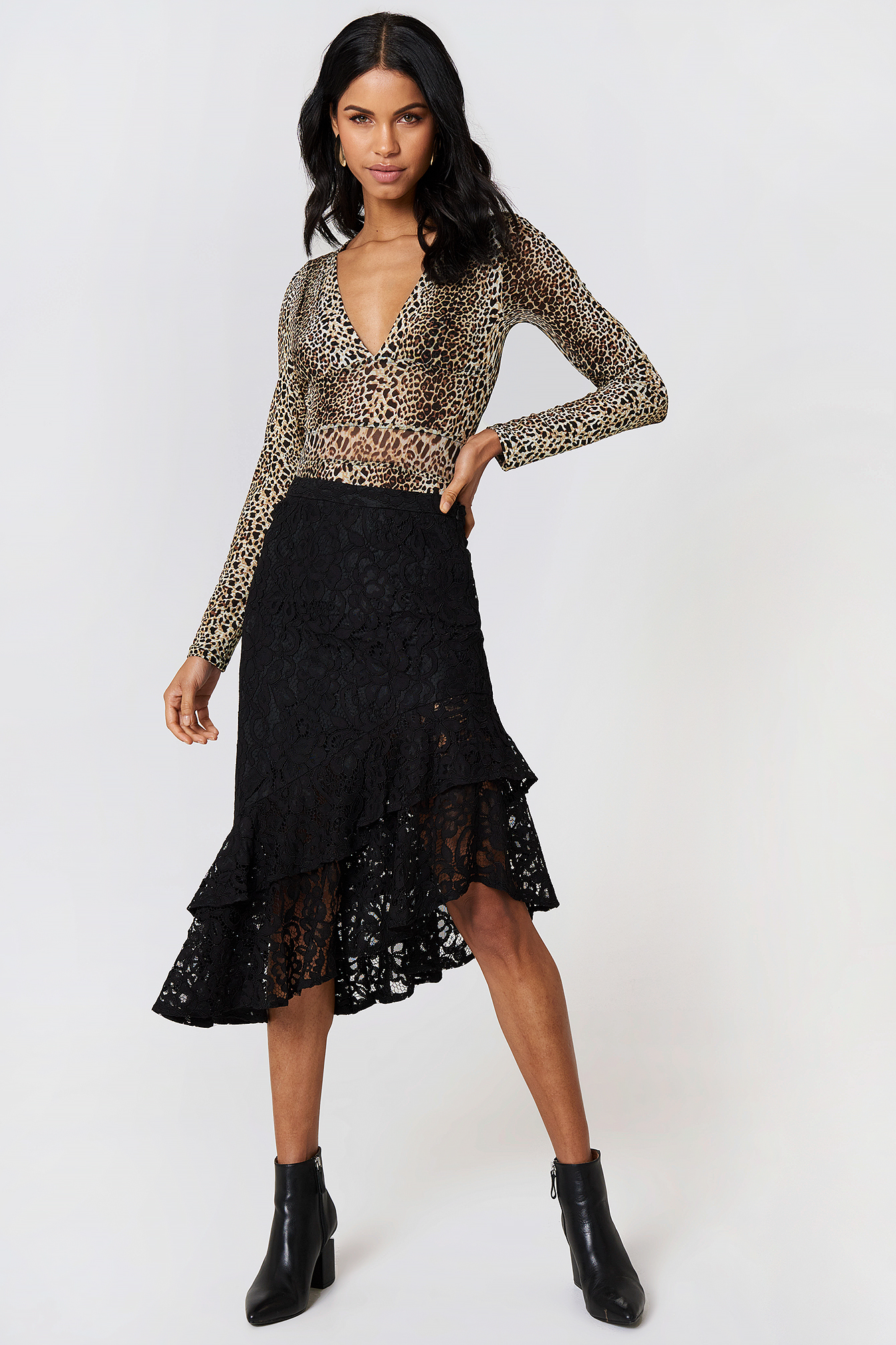 LACE FRILL MIDI SKIRT - BLACK