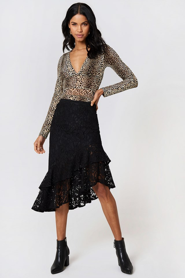 Lace Frill Midi Skirt NA-KD.COM