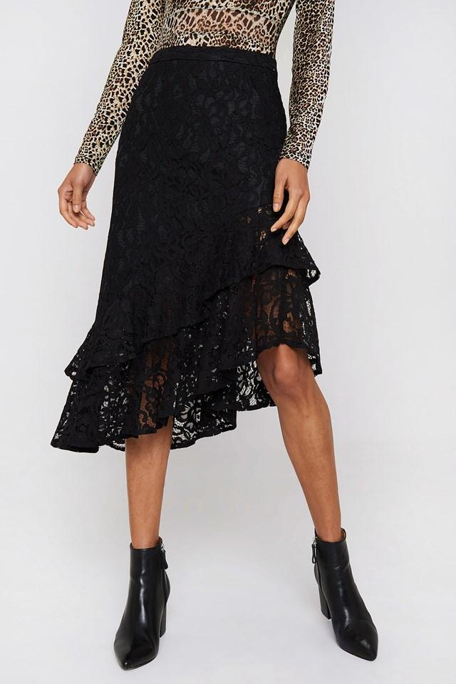 Lace Frill Midi Skirt Black