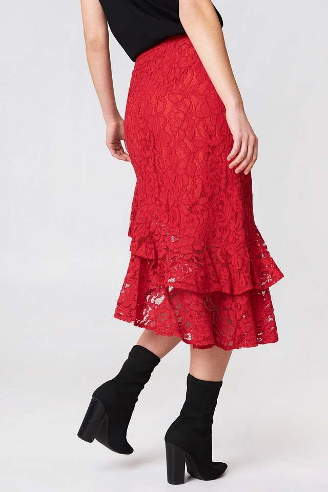 Lace Frill Midi Skirt Red