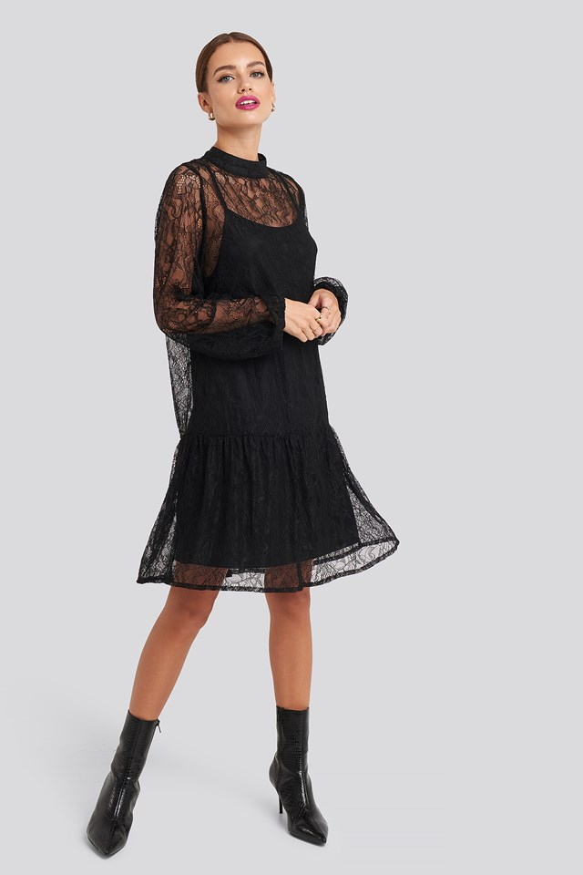 Lace High Neck Balloon Sleeve Mini Dress Black