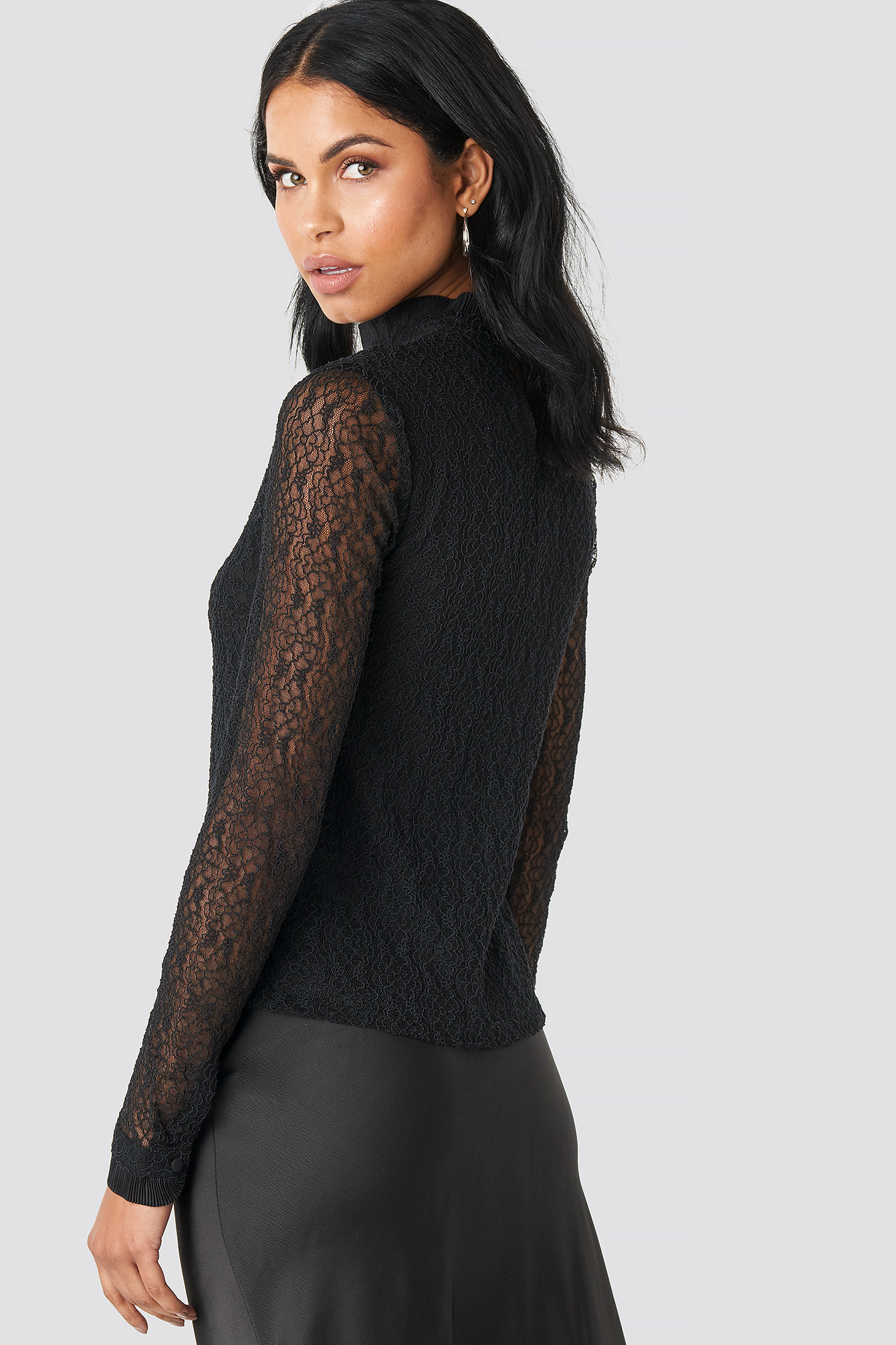 Lace High Neck Frill LS Blouse NA-KD.COM