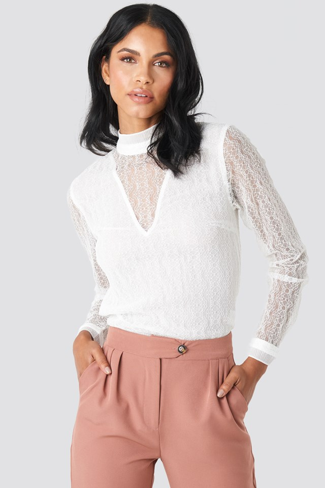 Lace High Neck Frill LS Blouse NA-KD Party