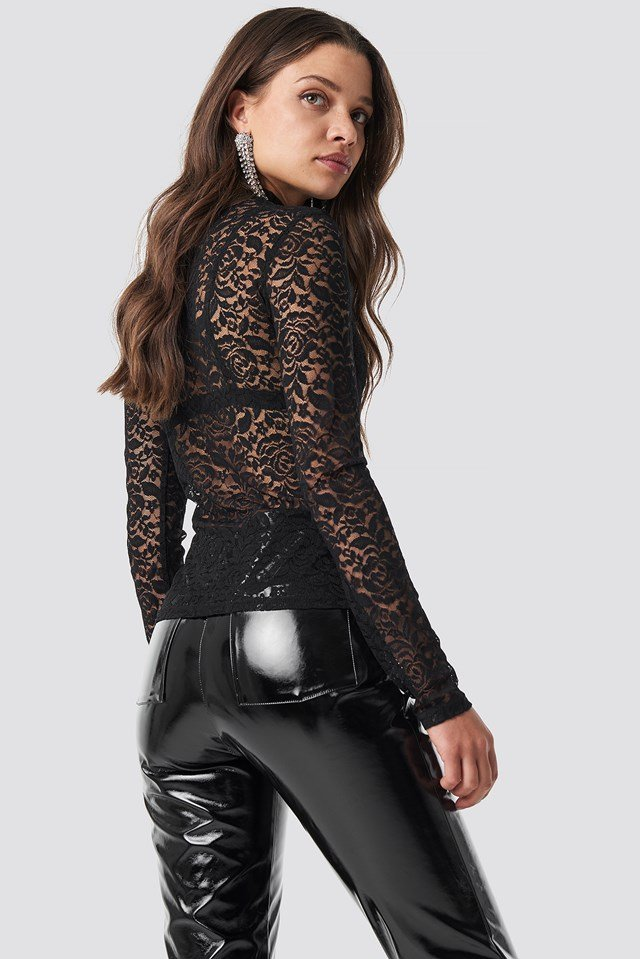 Lace High Neck Top Black