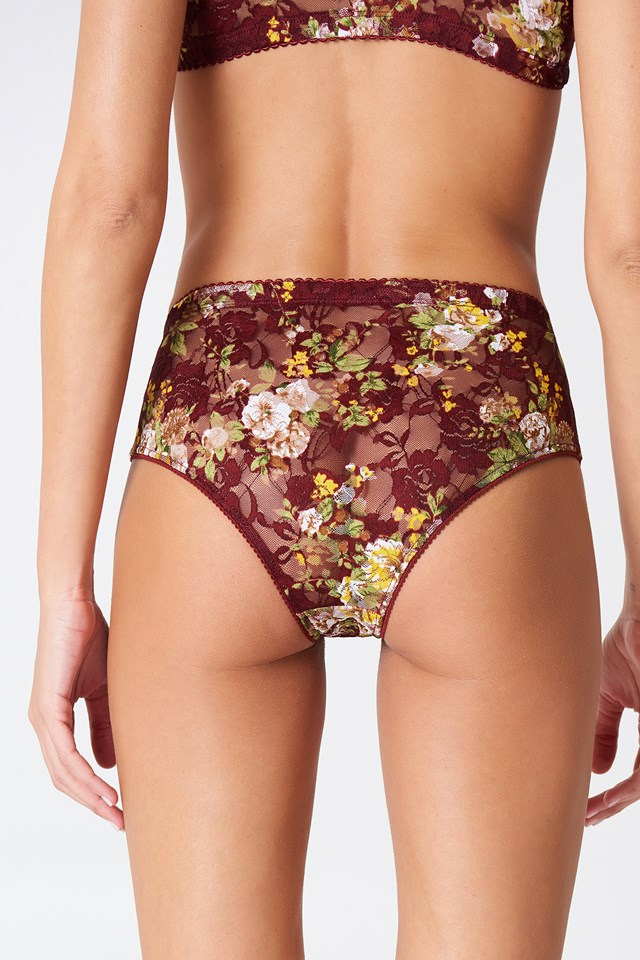 Lace High Waist Panty Red Print