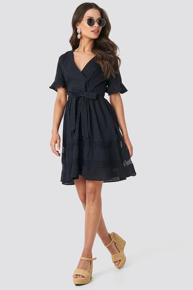 Lace Insert Cotton Mini Dress Black