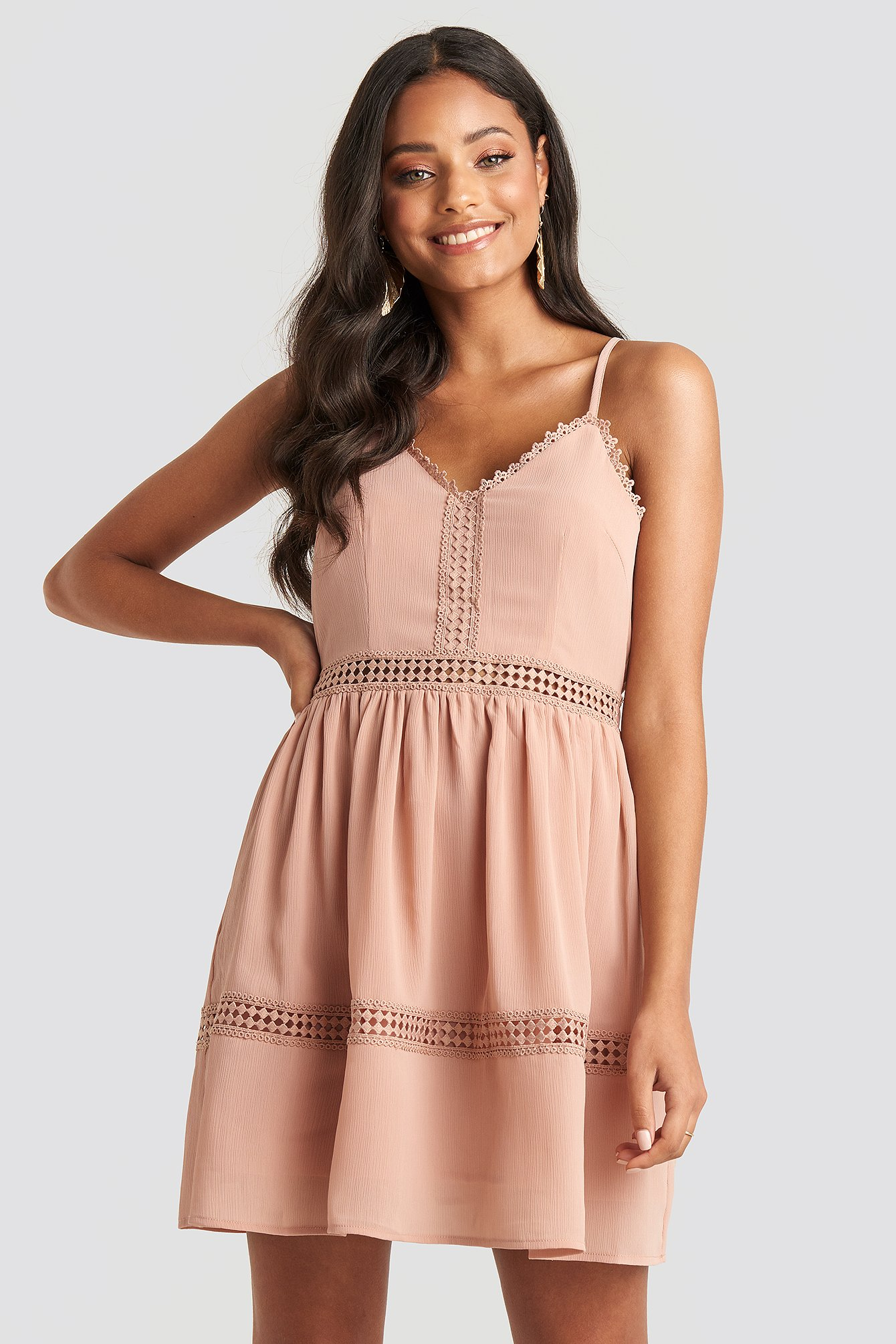Dusty Pink Lace Insert Flowy Mini Dress