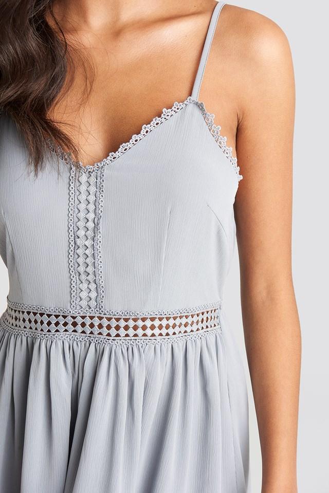 Lace Insert Flowy Mini Dress Dusty Blue