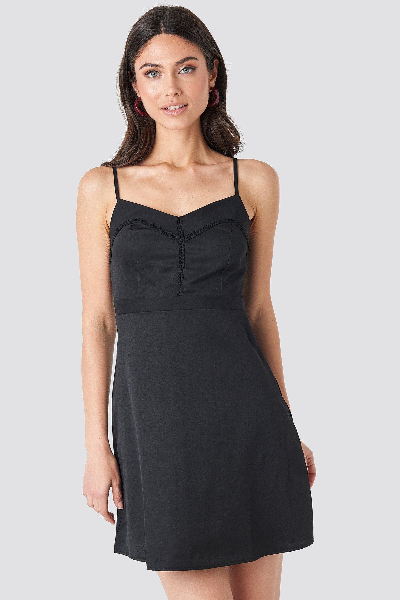 NA-KD Boho Lace Insert Mini Dress - Black