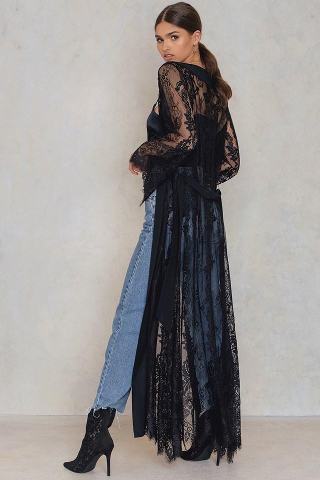 Lace Maxi Caftan Black
