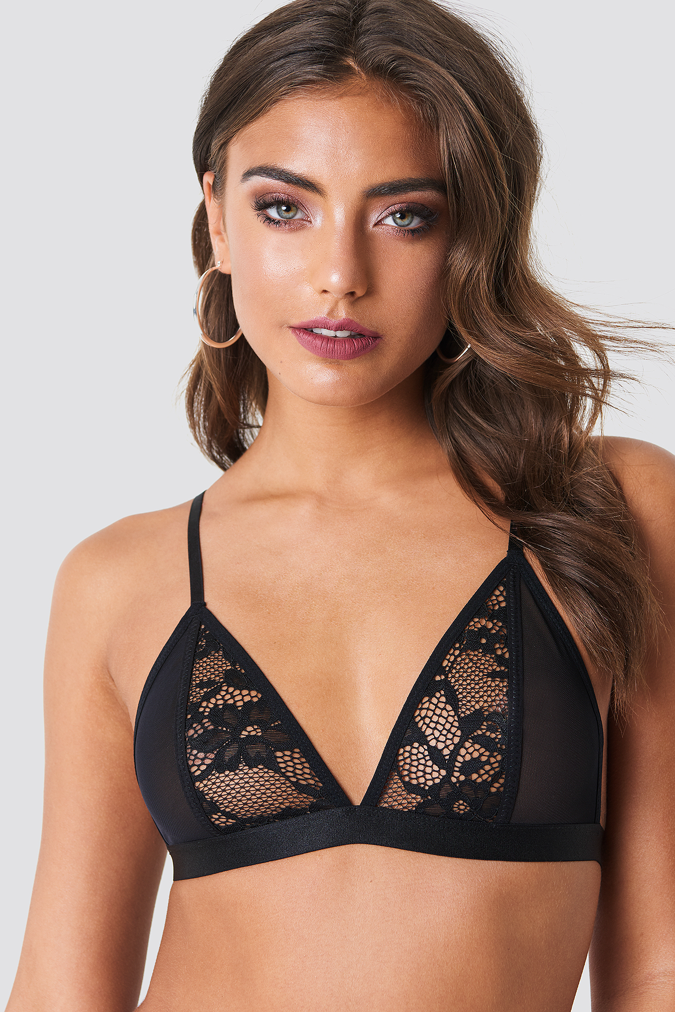Lace Mesh Mix Triangle Bra NA-KD.COM