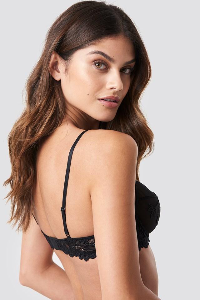 Lace Mesh Mix Application Bra Black