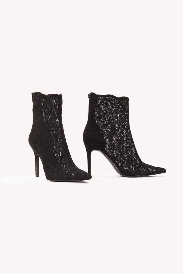Lace Mid Heel Boot NA-KD.COM