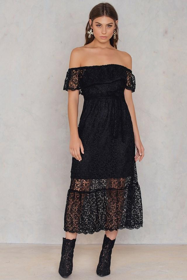 Lace Off Shoulder Dress Black