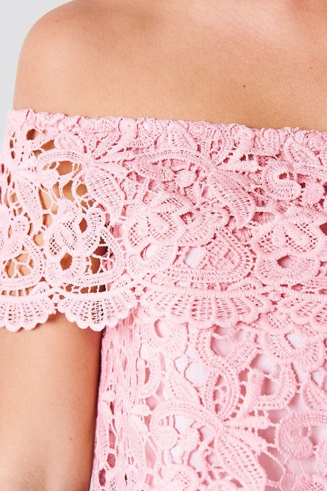 Lace Off Shoulder Top Dusty Pink