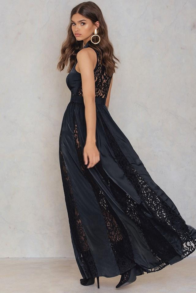 Lace Panel Maxi Dress NA-KD.COM