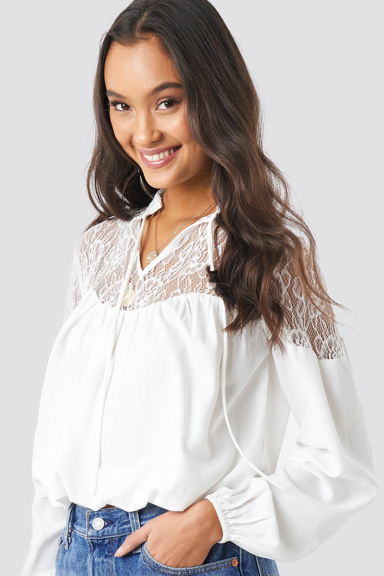 na-kd boho -  Lace Part Balloon Sleeve Blouse - White