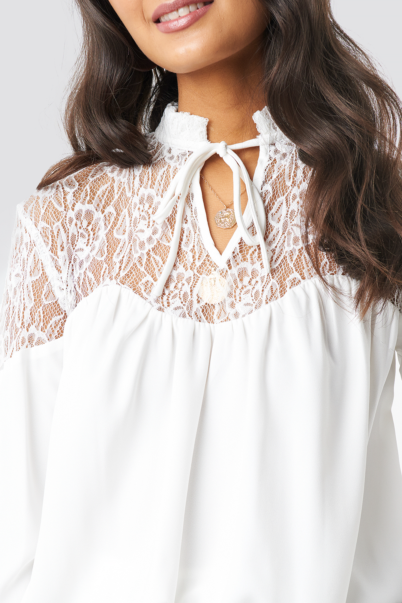 Lace Part Balloon Sleeve Blouse NA-KD.COM