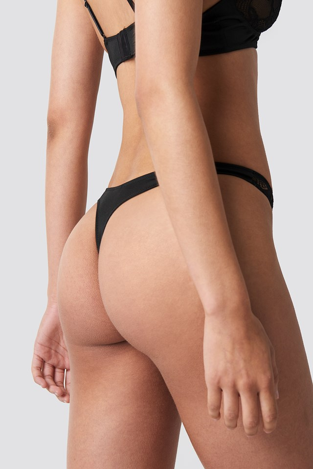 Lace Part Micro Thong Black