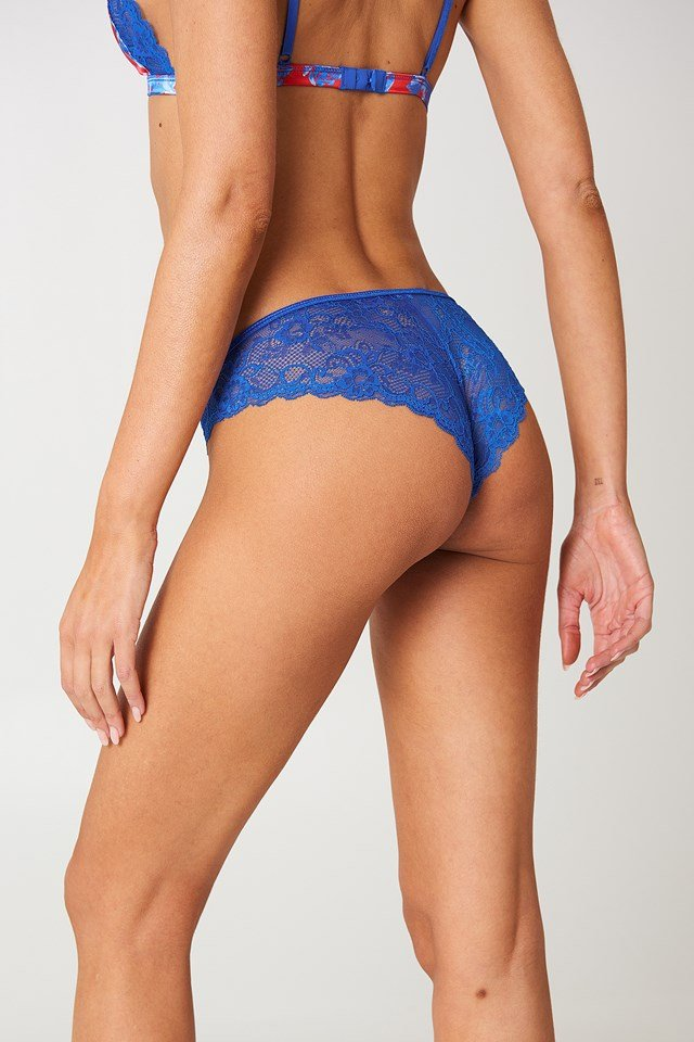 Lace Patterned Satin Briefs Red/Blue