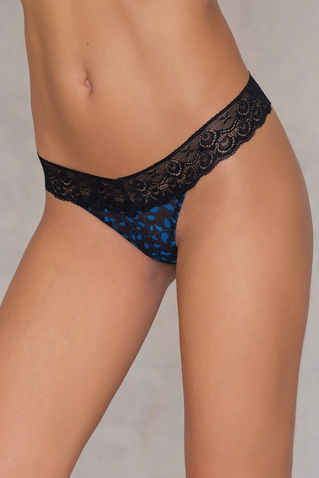 Lace Printed Mesh Thong Black/Blue Pattern