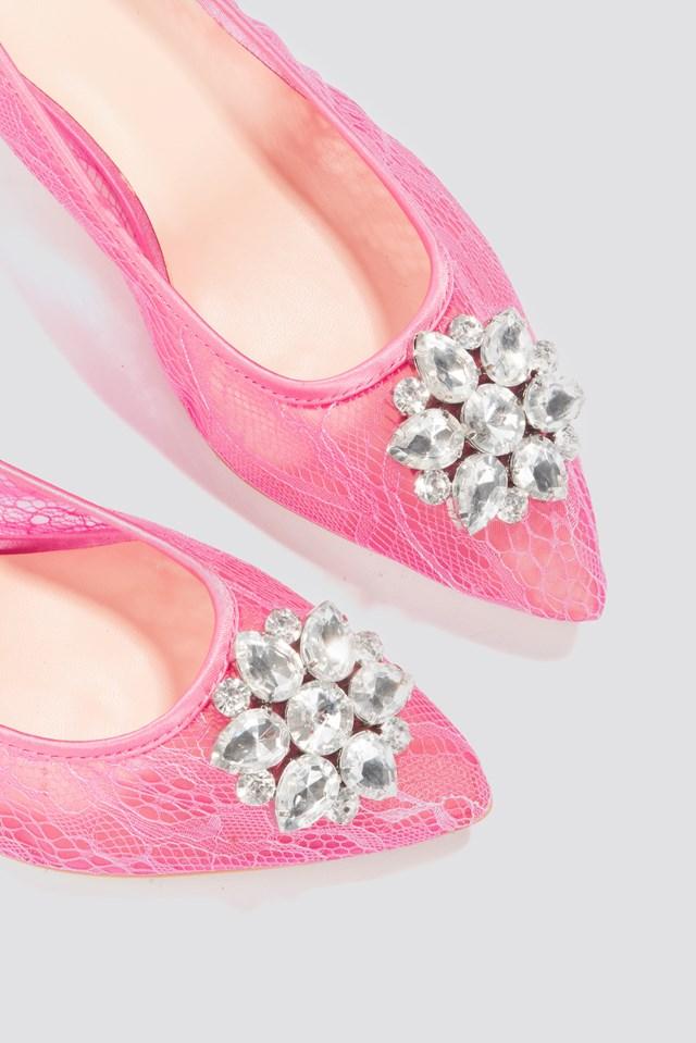 Lace Rhinestone Pumps Pink
