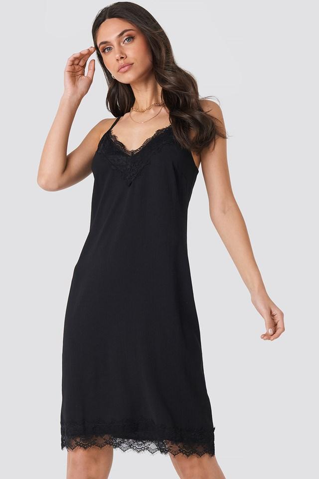 Lace Detail Slip Dress Black