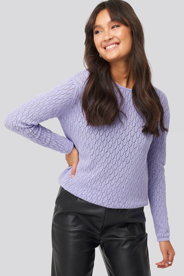 Lace Stitch Round Neck Sweater Lilac