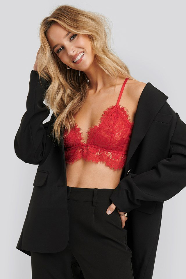 Lace Strap Bra Red