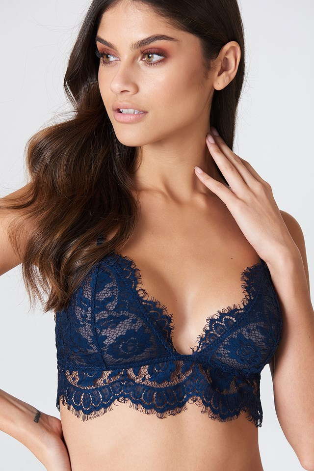 Lace Strap Bra Dark Blue
