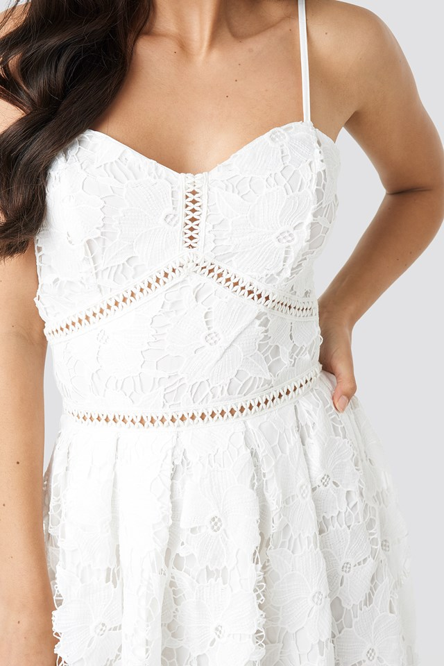 Lace Strap Dress White