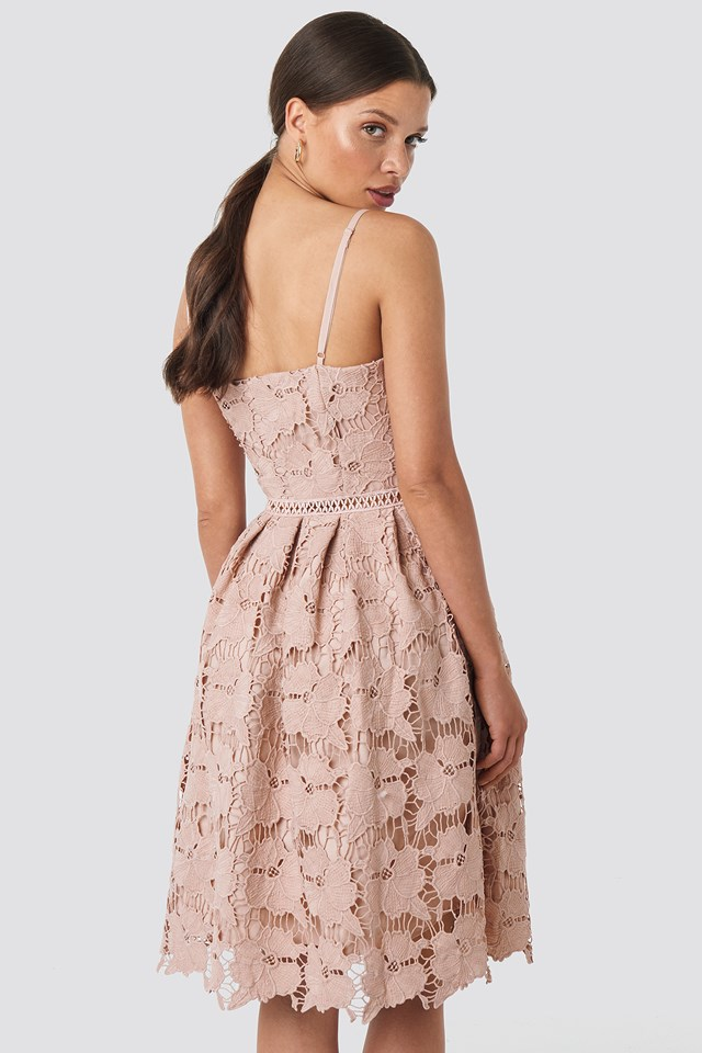 Lace Strap Dress Powder Pink