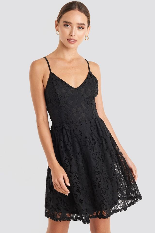 Lace Strap Mini Dress Black