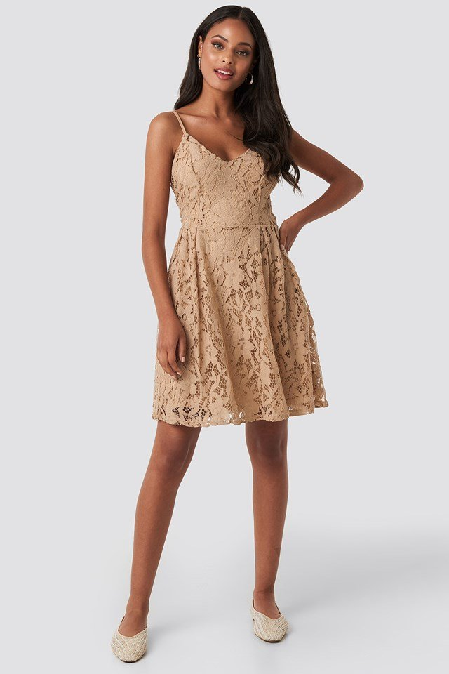 Lace Strap Mini Dress Cream
