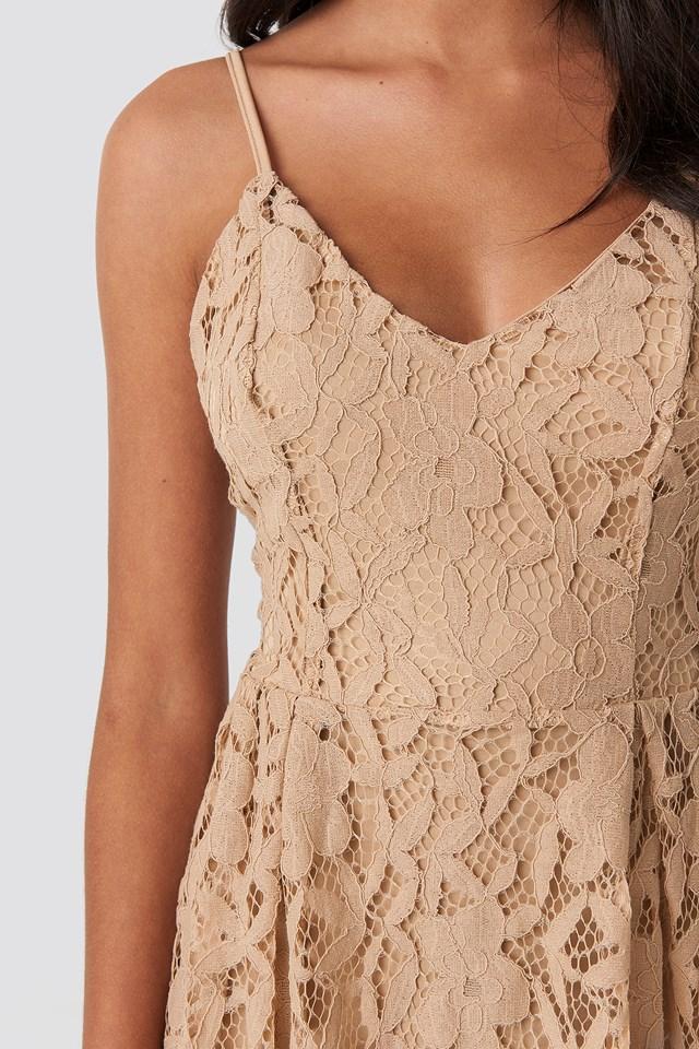 Lace Strap Mini Dress Cream