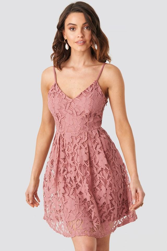 Lace Strap Mini Dress Rose Pink