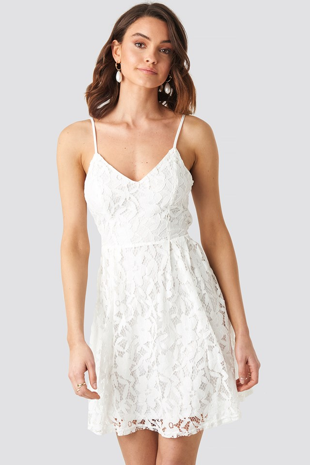 Lace Strap Mini Dress White