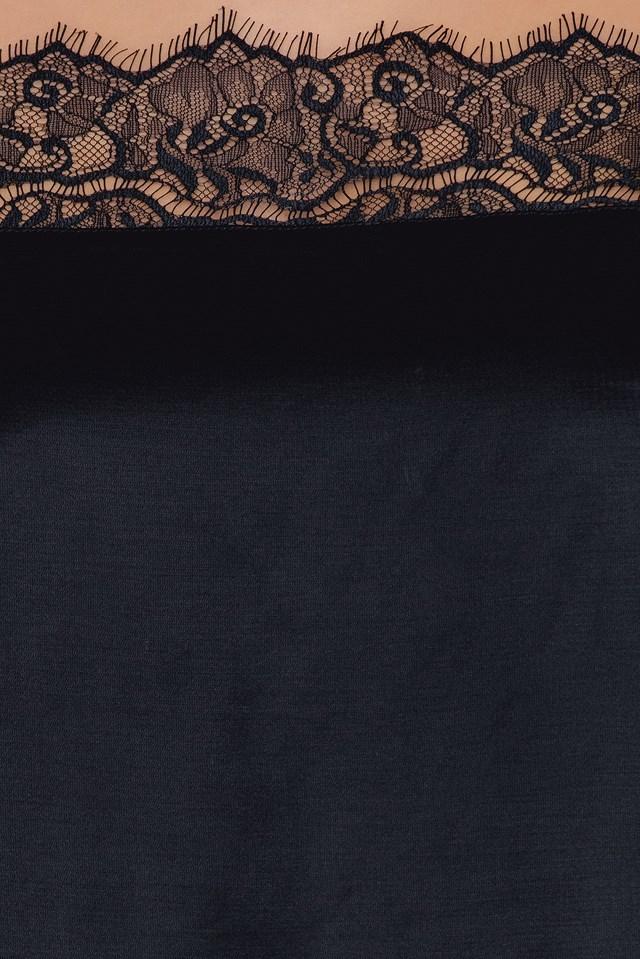 Lace top Part Slip Top Black