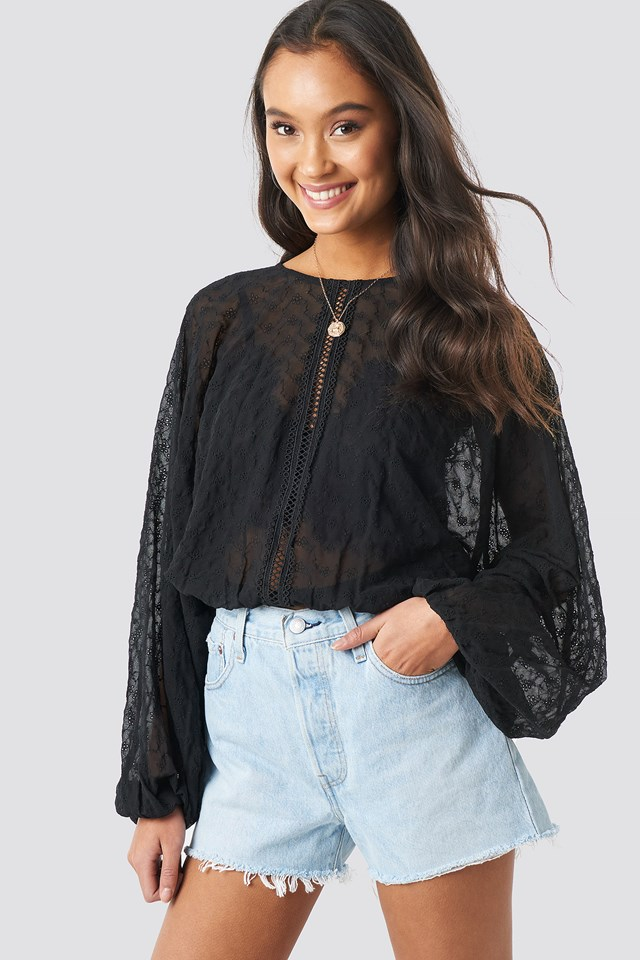 Lace-Up Back Blouse Black