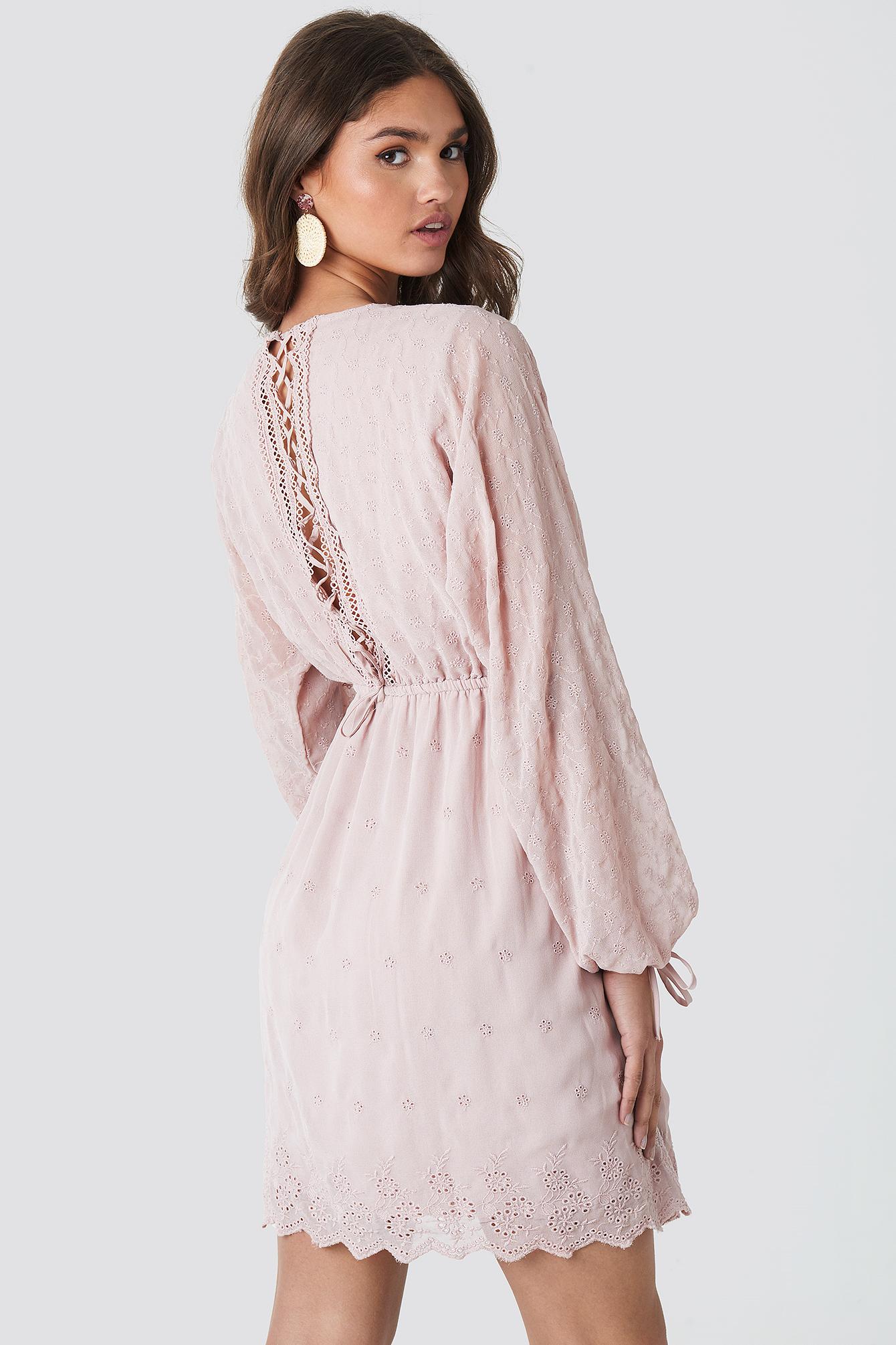 Lace-Up Back Mini Dress NA-KD.COM