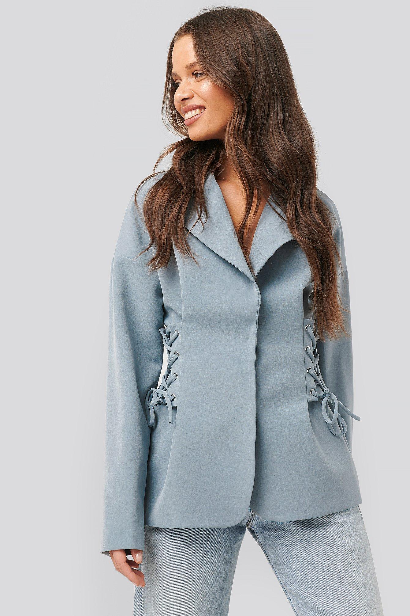 na-kd trend -  Lace Up Blazer - Blue