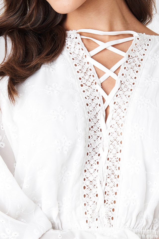 Lace Up Lace Dress White
